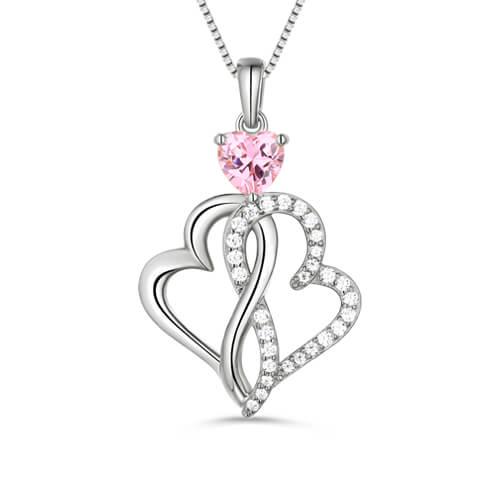 Custom Twist Hearts Infinity Love Necklace Sterling Silver