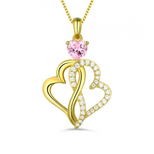 Custom Twist Hearts Infinity Love Necklace Gold Plated
