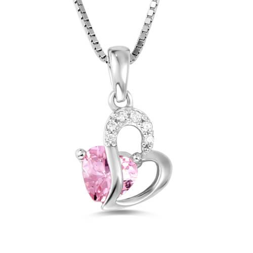 Custom Open Heart Birthstone Necklace Sterling Silver