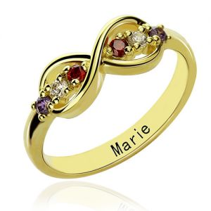 18K Gold Plated Infinity Promise Name Ring with Birthstone