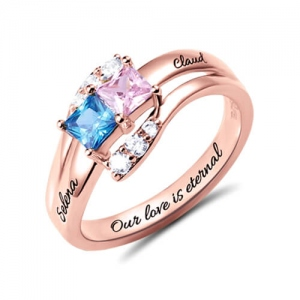 Custom Engraved Two Birthstones Ring In Rose Gold
