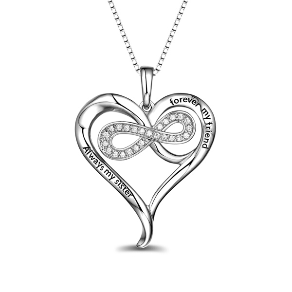 2018 Christmas Day Gift Personalized Sterling Silver Infinity Heart Necklace