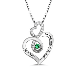 Custom Infinity Heart Birthstone Necklace Sterling Silver