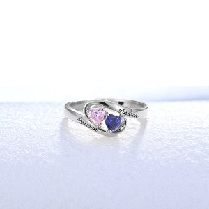 Extraordinary Engraved Two Heart Birthstones Promise Ring In Silver