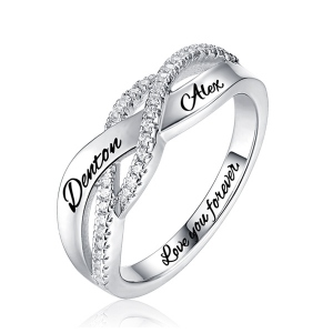 2018 Christmas Day Gift Engraved Name Sterling Silver Twisted Ring