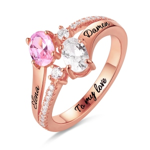 Exuberant Engraved Double Oval Birthstones Ring In Rose Gold