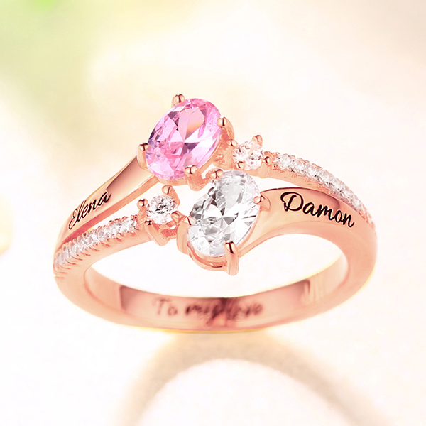 Engraved Double Oval Stones Ring In Rose Gold