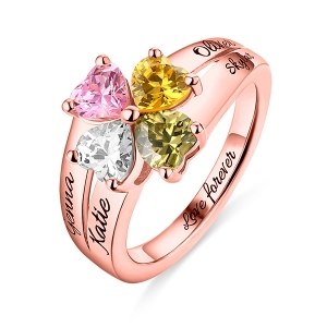 Versatile Engraved Mother's Love and Luck Birthstones Ring In Rose Gold