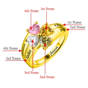 Engraved Mother's Love and Luck Birthstones Ring In Gold