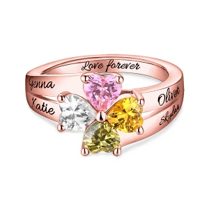 Engraved Mother's Love and Luck Birthstones Ring In Rose Gold