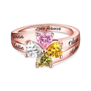 Personalisierter Ring mit Namen und Geburtssteinen zur Liebe für Mutter in Rosegold