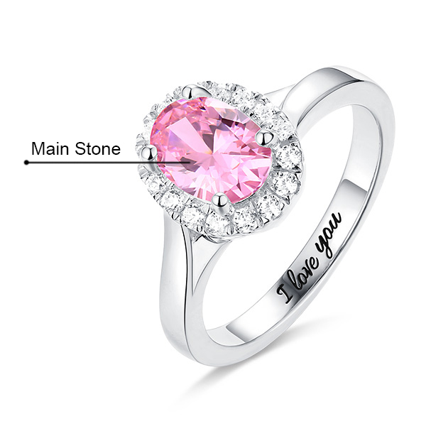 Engraved Stunning Oval Shaped Stone Halo Ring In Silver