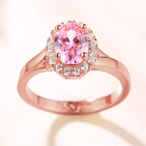 2018 Christmas Day Gift Engraved Stunning Oval Shaped Stone Halo Ring In Rose Gold