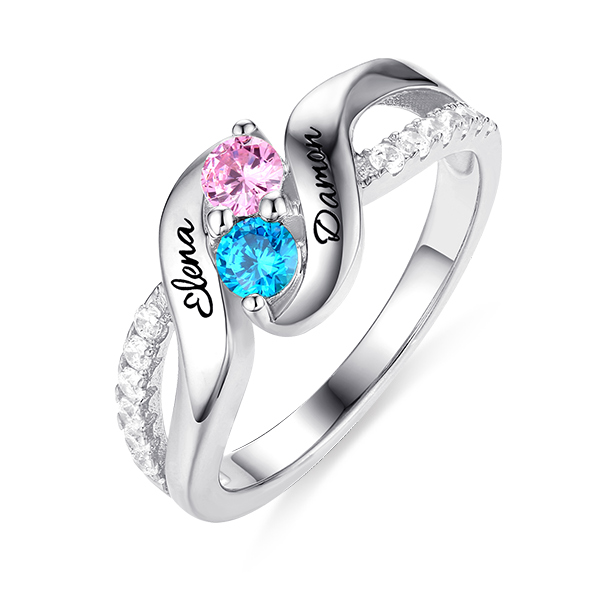 Personalised for Love Double Birthstones Promise Ring Sterling Silver