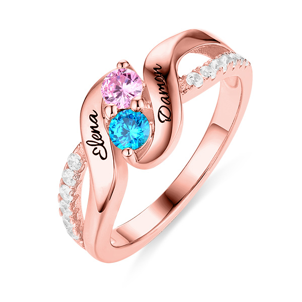 Personalised for Love Double Birthstones Promise Ring In Rose Gold