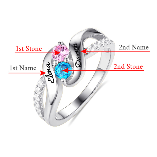 Personalized for Love Double Birthstones Promise Ring Sterling Silver