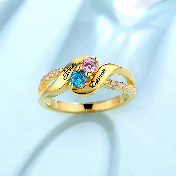 Personalisierter Versprechen-Ring für Liebe mit doppelten Geburtssteinen in Gold
