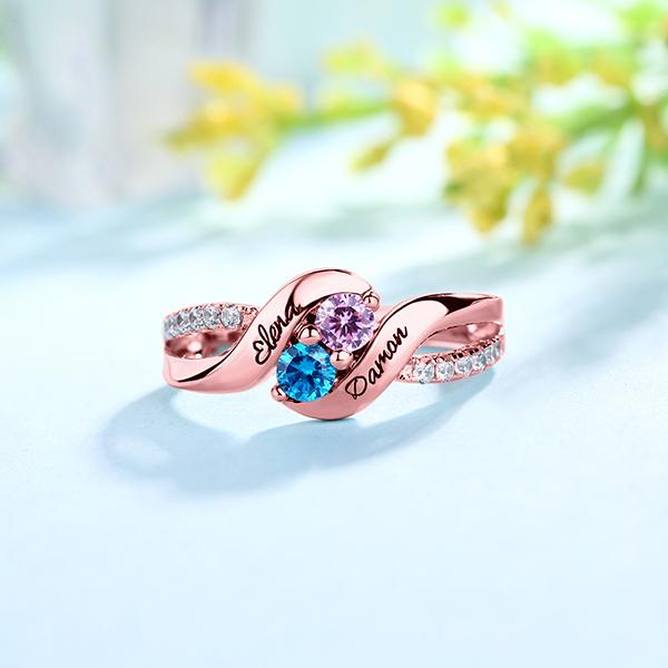 Personalisierter Versprechen-Ring für Liebe mit doppelten Geburtssteinen in Rosegold