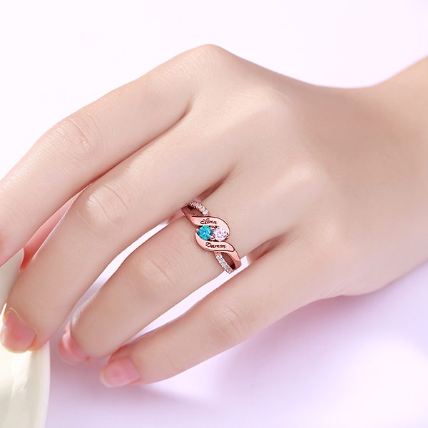 Personalized for Love Double Birthstones Promise Ring In Rose Gold