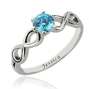 Enigmatical Exterior Double Infinity Promise Silver Name Ring with Birthstone