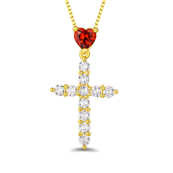 Personalized Heart Birthstone Cross Necklace In Gold