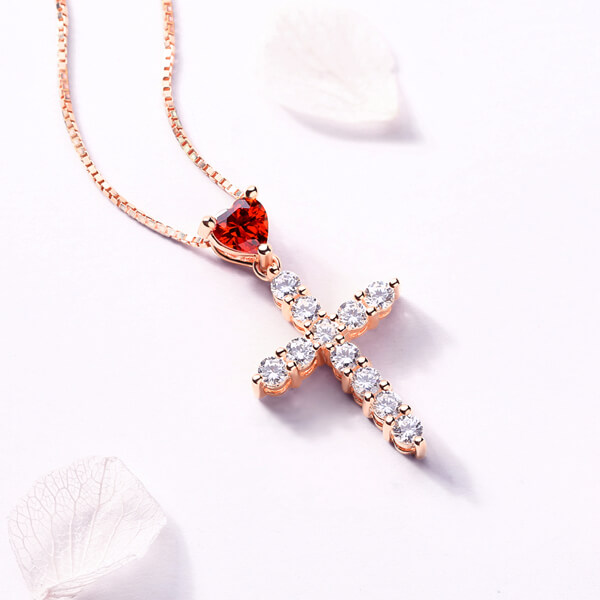 Personalized Heart Birthstone Cross Necklace In Rose Gold