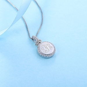 Personalized Round CZ Monogram Sterling Silver Necklace