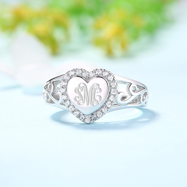 dfb9e1eda6 Custom CZ Monogram Heart Ring