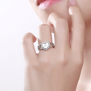 Enigmatical Custom CZ Monogram Heart Ring