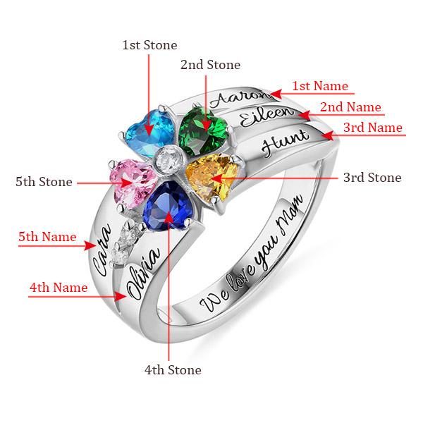 Anel com 5 pedras zodiacais em coração gravado em prata de Lei