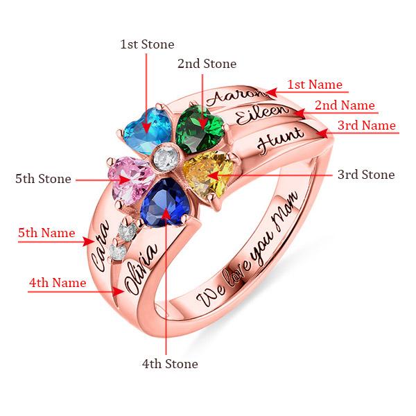 Anel de ouro rosa com pedra zodiacal com 5 corações gravado