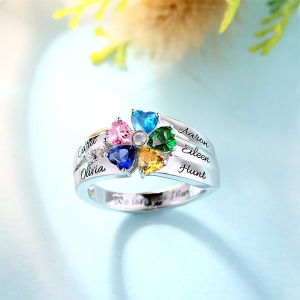 Engraved 5 Heart-Shaped Birthstones Ring In Sliver