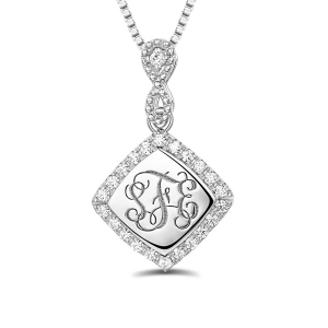 Custom Monogram Necklace With Cubic Zirconia