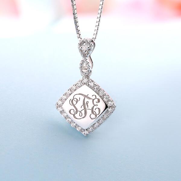 Custom Monogram Necklace With Cubic Zirconia