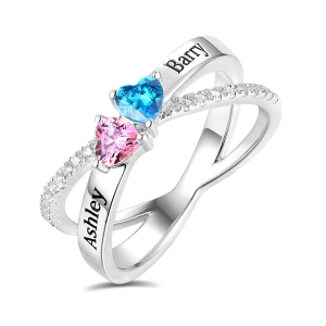 Personalized Heart Birthstones Crisscross Ring In Silver