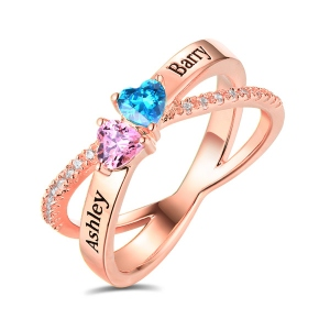 Personalized Heart Birthstones Crisscross Ring In Rose Gold