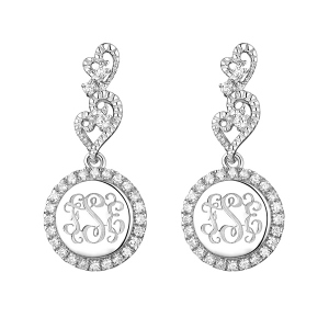 Silver Aesthetic Personalized Lace Monogram Earrings