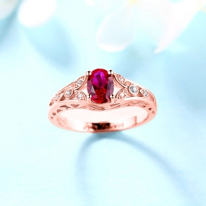 Personalized Oval Birthstone Vine Ring For Woman In Rose Gold