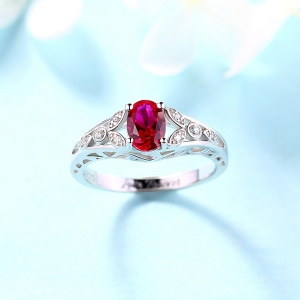 Splendid Personalized Oval Birthstone Vine Ring For Woman Sterling Silver