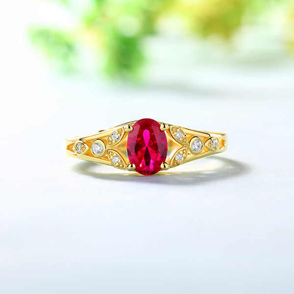 Personalized Oval Birthstone Vine Ring For Woman In Gold