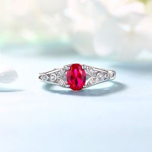 Personalized Oval Birthstone Vine Ring For Woman Sterling Silver