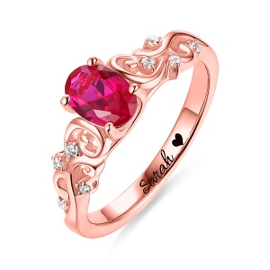 Personalized Oval Birthstone Vine Ring In Rose Gold