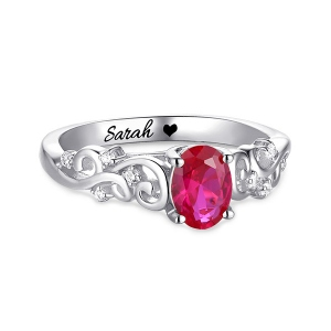 Personalized Oval Birthstone Vine Ring Sterling Silver
