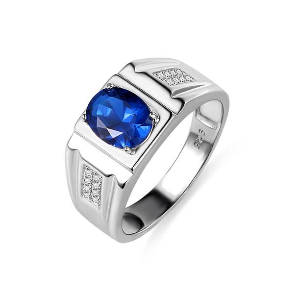 Personalisierter Klassischer Ring mit Ovalem Geburtsstein für Herren