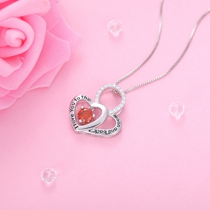 "Customized ""l love you to the moon and back"" Birthstone Heart Necklace"