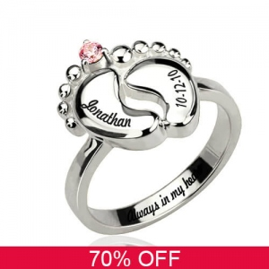 Engraved Baby Feet Ring with Birthstone Platinum Plated 70% Off
