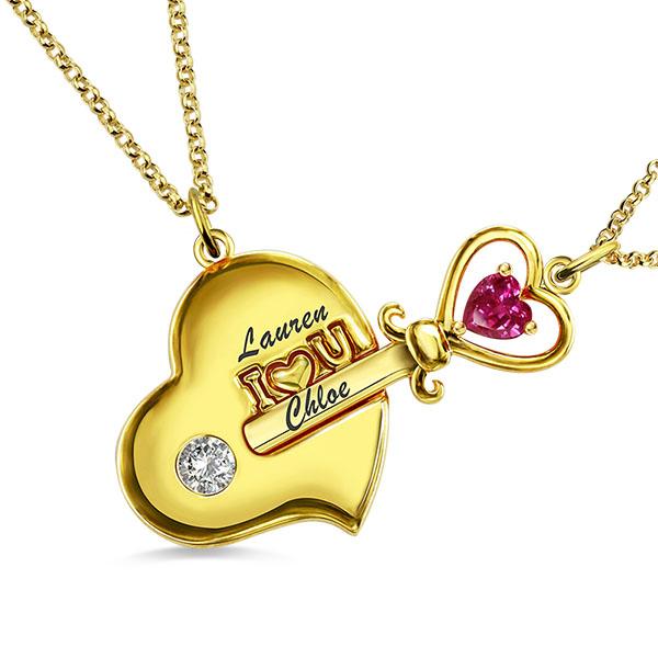 brillante en brillo código promocional disfruta el precio más bajo Collar llave de mi corazón con piedra de nacimiento para madre e hija en oro
