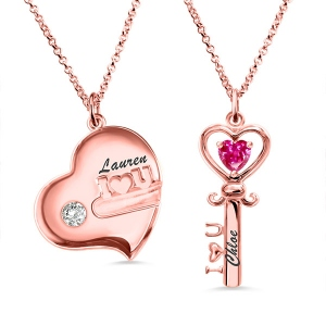 Key to My Heart Birthstone Necklace For Mother And Daughter In Rose Gold