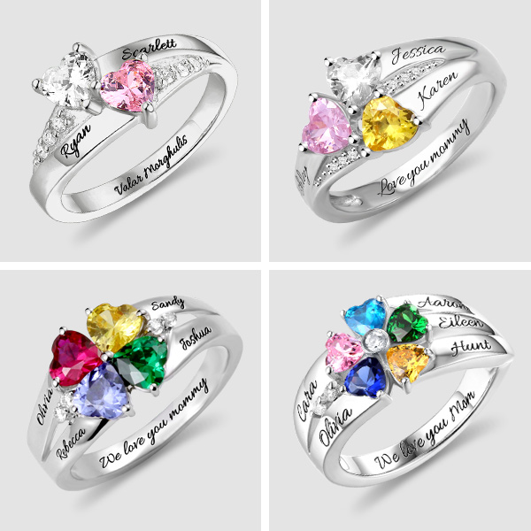 Engraved Heart Birthstone Ring for Mother