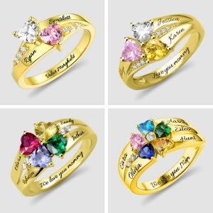 Personalized Heart Birthstone Mother's Ring With Engraving In Gold